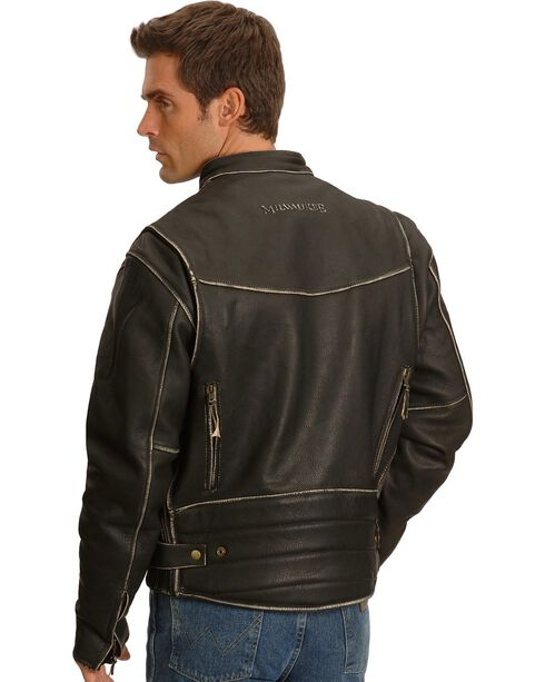 Milwaukee Men's Crazy Horse Leather Motorcycle Jacket, Black, hi-res