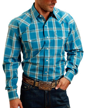 Stetson Men's Ombre Plaid Long Sleeve Shirt, Turquoise, hi-res