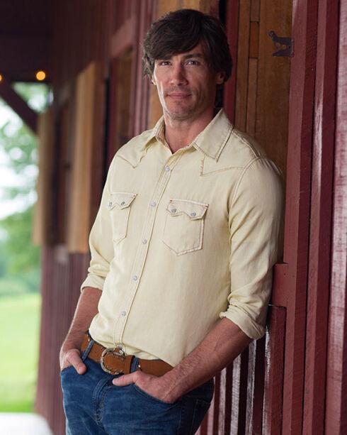 Ryan Michael Men's Grain Silk Long Sleeve Snap Western Shirt, Light Yellow, hi-res