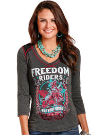 Panhandle White Label Cowgirl Women's Freedom Riders Graphic Tee, , hi-res