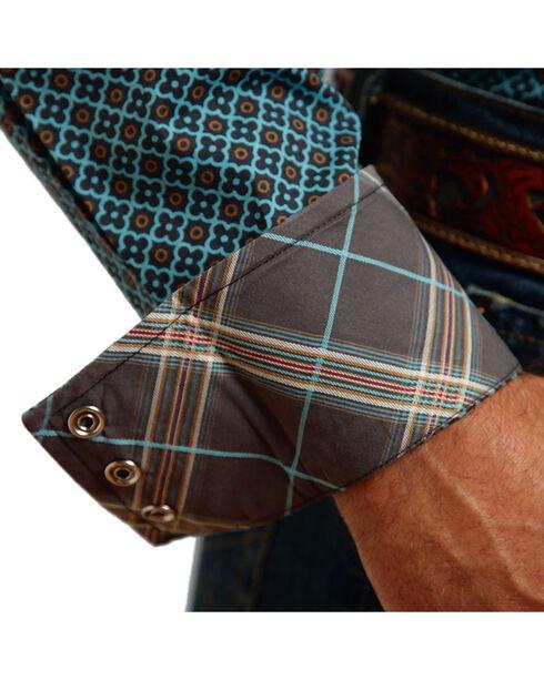 Stetson Men's Four Leaf Foulard Pattern Long Sleeve Shirt, Blue, hi-res