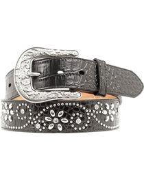 Ariat Swirl Studded Croc Print Western Belt, , hi-res