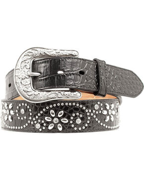 Ariat Swirl Studded Croc Print Western Belt, Black, hi-res
