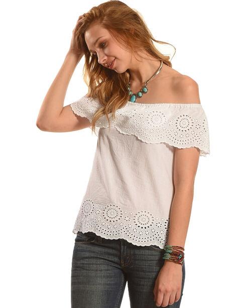 Derek Heart Women's Short Sleeve Off- the-Shoulder Top with Scalloped Hem, White, hi-res