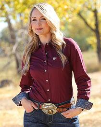 Cinch Women's Burgundy Long Sleeve Western Shirt , , hi-res