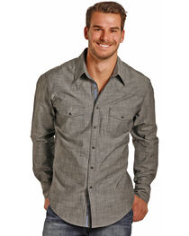 Rock & Roll Cowboy Men's Long Sleeve Striated Solid Chambray Snap Shirt, , hi-res