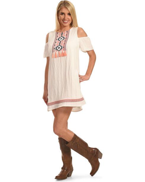 Polagram Women's Cold Shoulder Embroidered Dress, White, hi-res