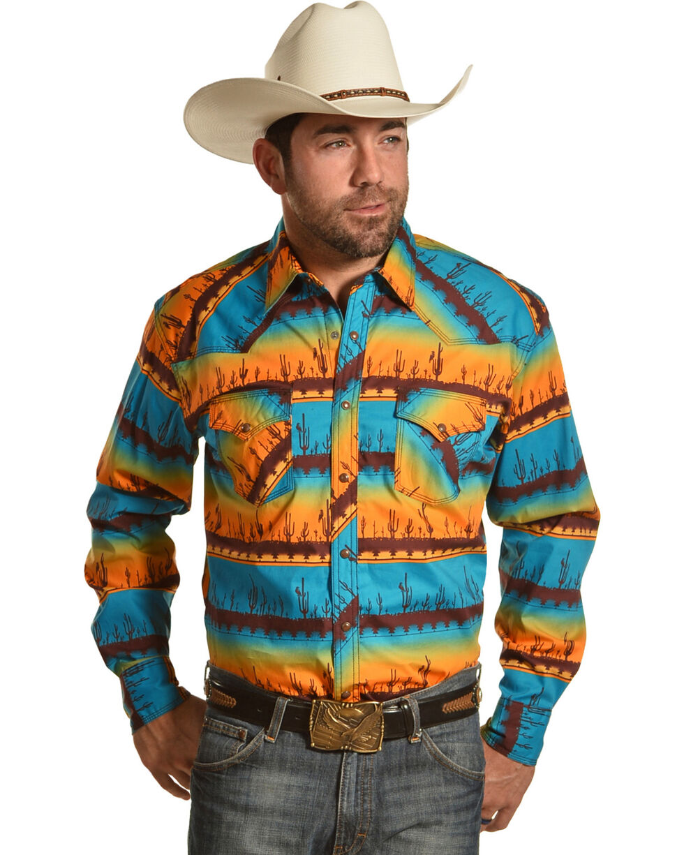 Wrangler Men's Orange 20X Competition Advanced Comfort Scenic Shirt , Orange, hi-res
