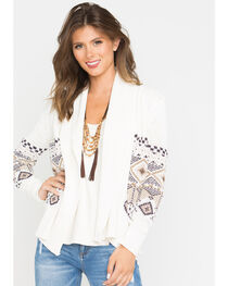 Shyanne® Women's Aztec Cable Knit Sweater, Ivory, hi-res