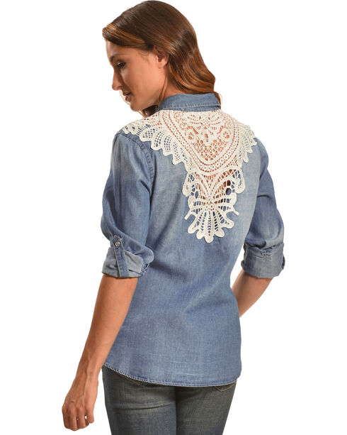 Tantrums Women's Denim Crochet Western Snap Shirt , Indigo, hi-res