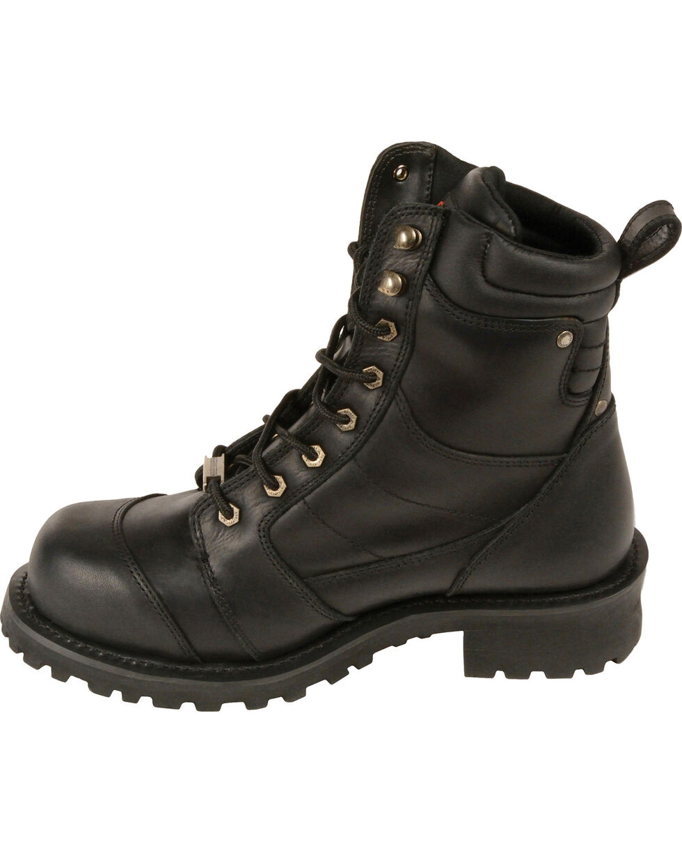 "Milwaukee Leather Men's 8"" Classic Logger Boots - Round Toe, Black, hi-res"