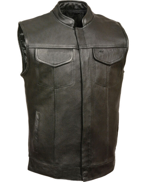 Milwaukee Leather Men's Black Open Neck Club Vest - 5X , Black, hi-res
