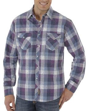 Wrangler Retro Men's Plaid Long Sleeve Shirt, Navy, hi-res