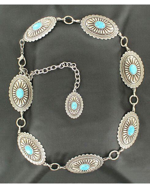 Ariat Women's Western Concho Chain Belt, Silver, hi-res