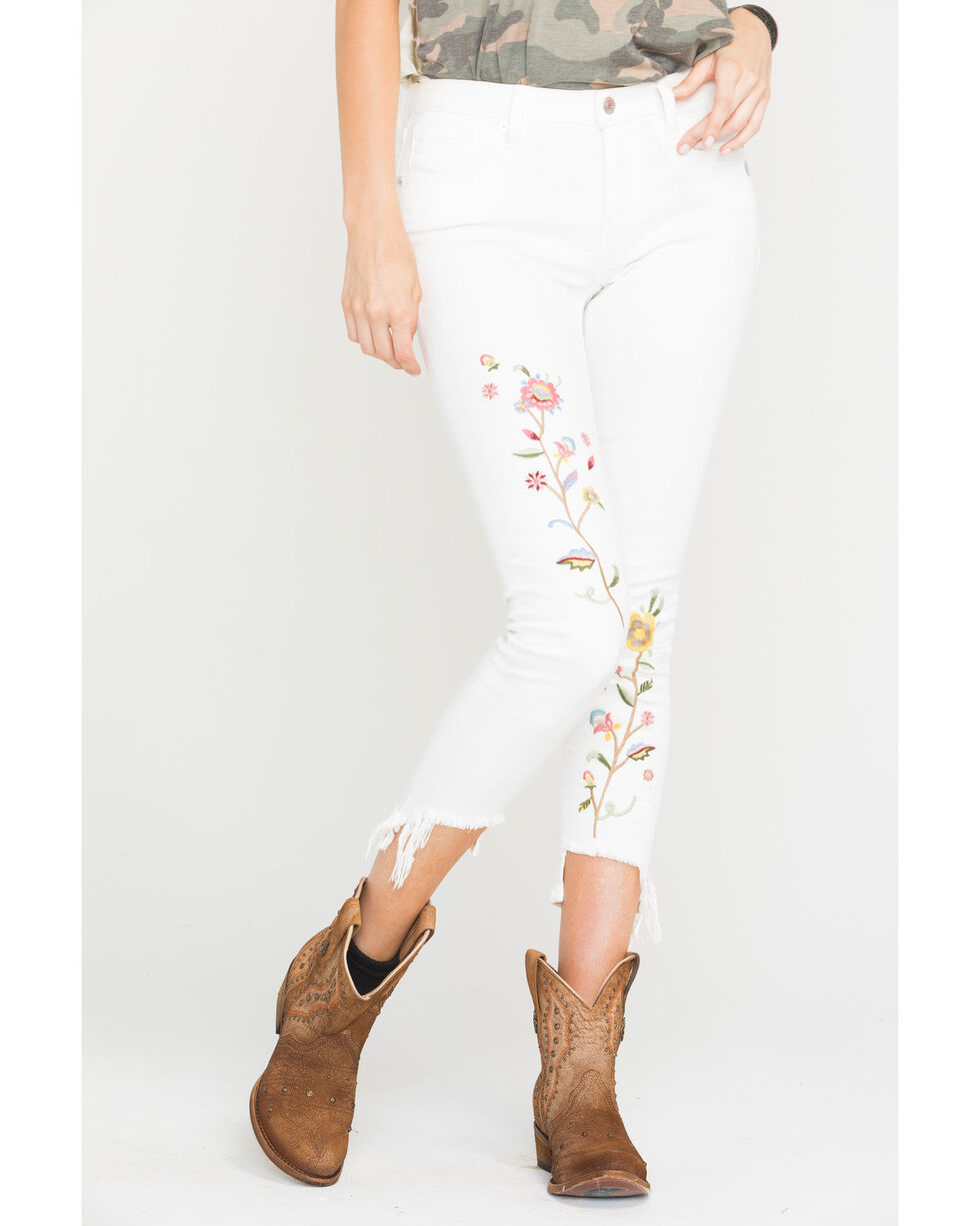 Miss Me Women's Flourish Mid-Rise Ankle Skinny Jeans, White, hi-res