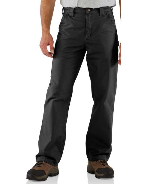 Carhartt Men's Canvas Dungaree Work Pants, Black, hi-res