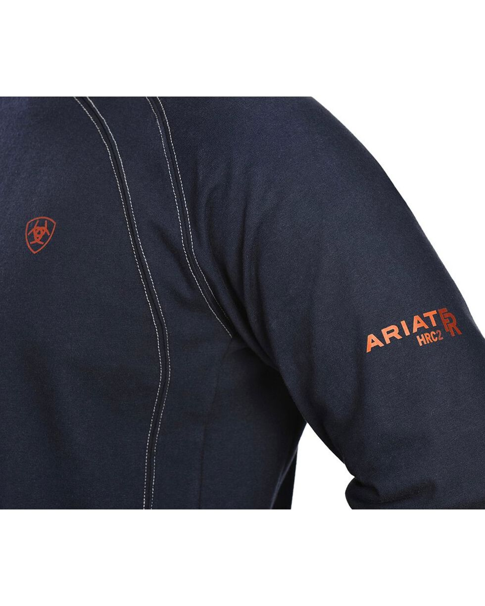 Ariat Men's Knit Fire Resistant Work Crew Long Sleeve, Navy, hi-res