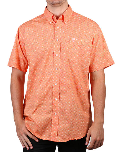 Cinch Men's Boot Barn Exclusive Diamond Printed Short Sleeve Shirt, Coral, hi-res