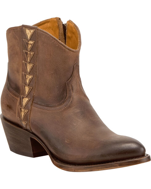Lucchese Women's Handmade Chloe Dark Brown Goat Leather Geometric Overlay Western Booties - Round Toe, Dark Brown, hi-res