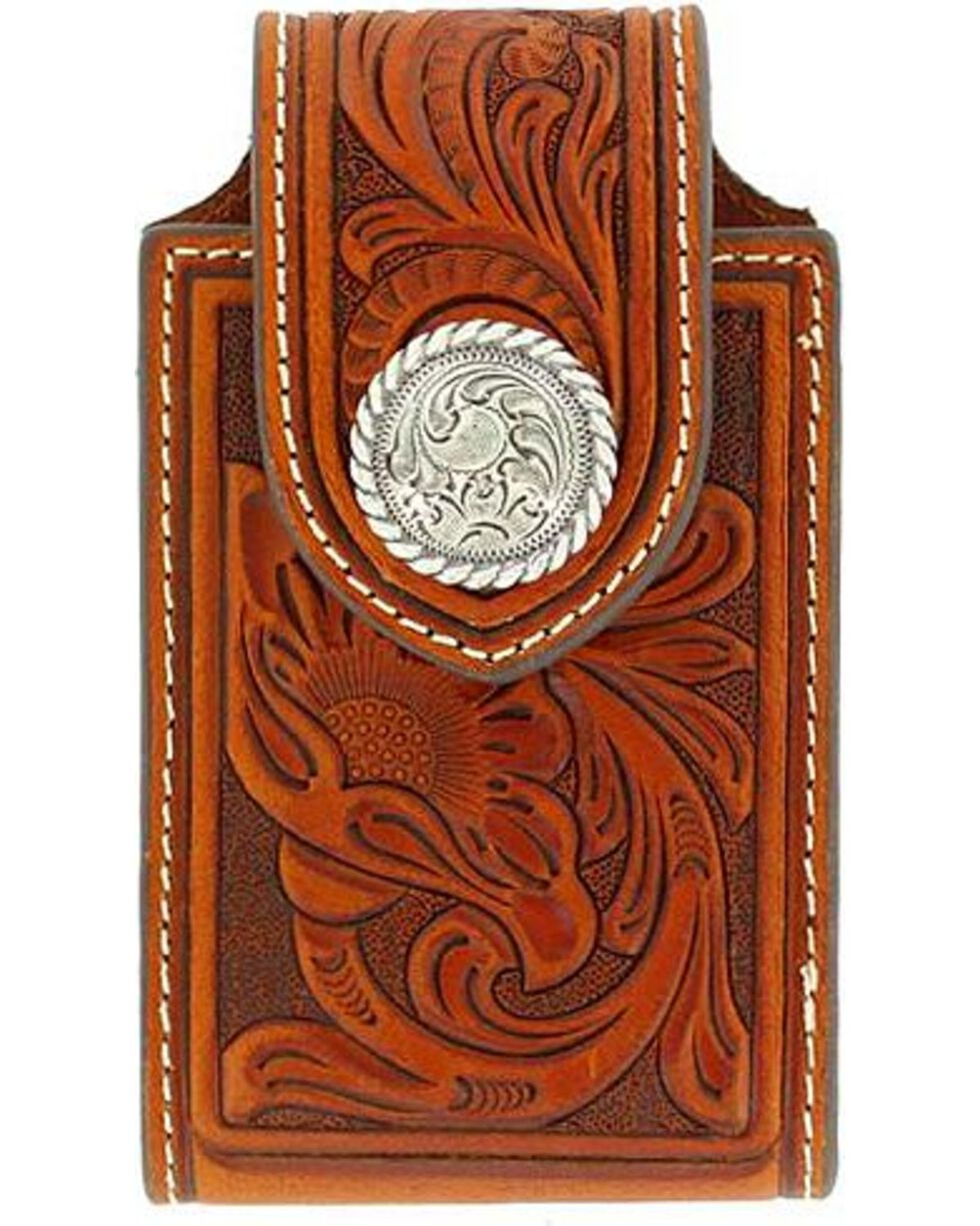 Nocona Tooled Leather Electronics Case, Brown, hi-res