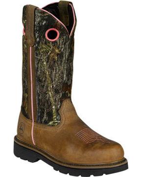 "John Deere Women's 11"" Steel Toe Pull-On Wellington Work Boot, Brown, hi-res"
