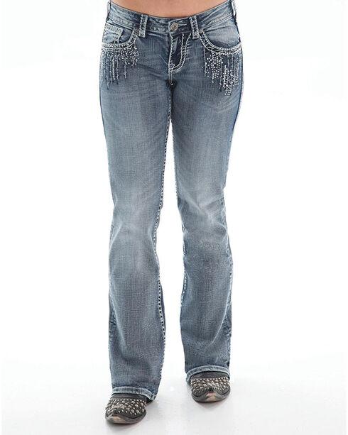 Cowgirl Tuff Women's Crystal Waterfall Boot Cut Jeans, Indigo, hi-res