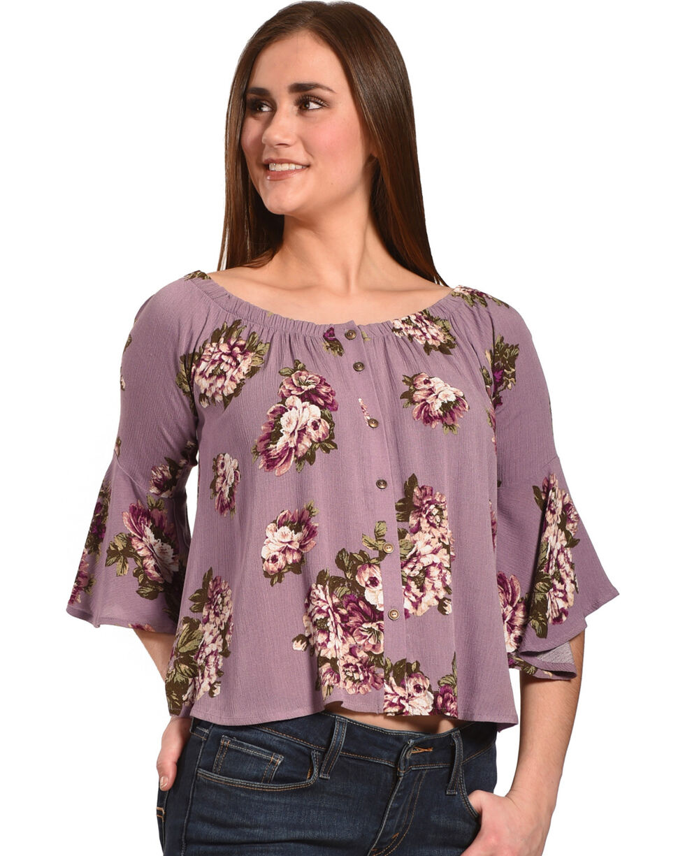 Luna Chix Women's Lavender Floral Button Down Off-The-Shoulder Top, Lavender, hi-res