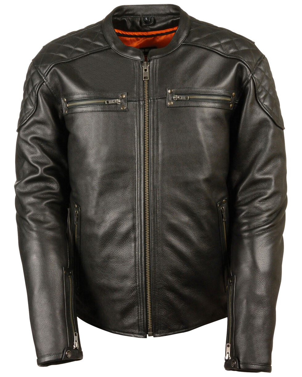 Milwaukee Leather Men's Full Side Lace Vented Scooter Jacket, Black, hi-res