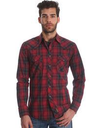 Wrangler Men's Red Retro Two Pocket Plaid Shirt , , hi-res