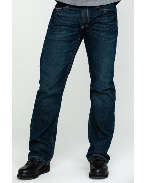 Ariat Men's Rebar M4 Low Rise Boot Cut Jeans, Denim, hi-res