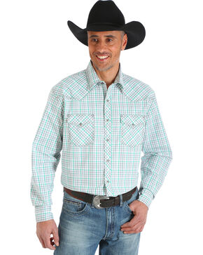Wrangler 20X Men's White/Green Competition Advanced Comfort Snap Shirt - Big & Tall, Green, hi-res