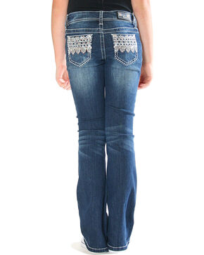 Grace in LA Toddler Girls' Blue Diamond Aztec Jeans - Boot Cut , Blue, hi-res