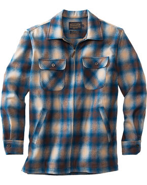 Pendleton Men's Tan and Blue Brightwood Zip Jacket, Multi, hi-res