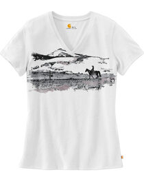 Carhartt Women's Wellton Short Sleeve V-Neck Graphic T-Shirt , , hi-res