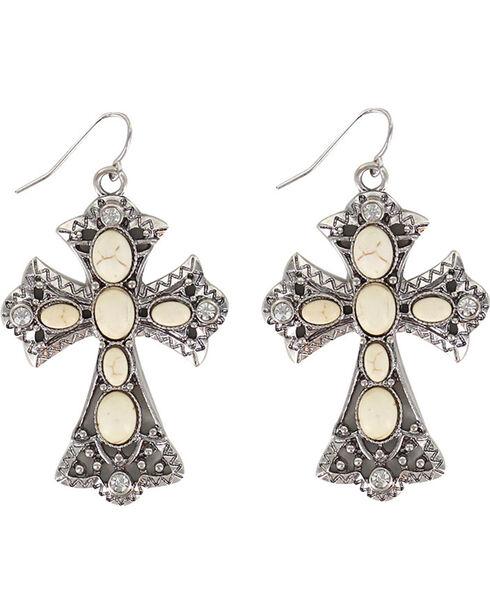 Shyanne® Women's Cross Bone Earrings, Silver, hi-res