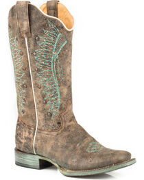 Roper Women's Embroidered Headdress Studded Cowgirl Boots - Square Toe, , hi-res