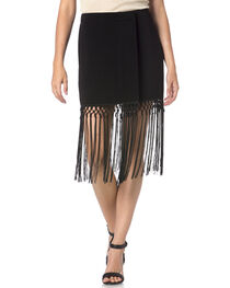 Miss Me Black Fringe Skirt, , hi-res