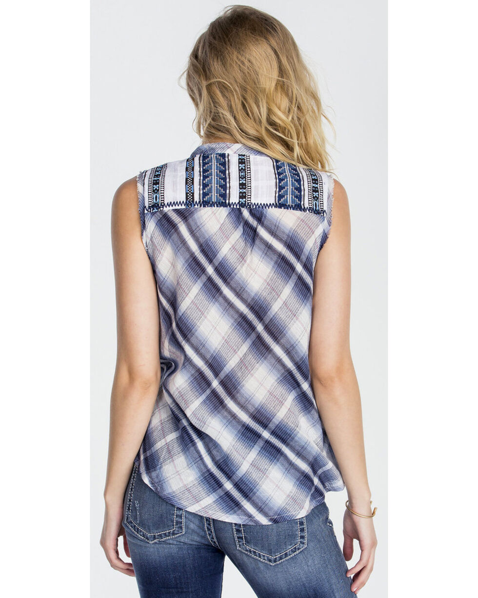 Miss Me Women's Blue Sleeveless Plaid Shirt , Blue, hi-res