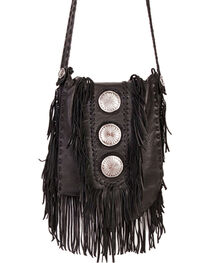 Scully Black Leather Fringe with Large Conchos Shoulder Bag, , hi-res
