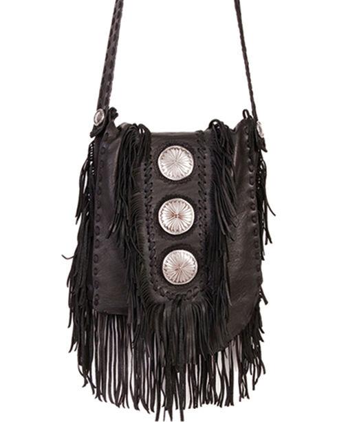 Scully Black Leather Fringe with Large Conchos Shoulder Bag, Black, hi-res