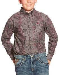 Ariat Boy's Snyder Print Pattern Long Sleeve Shirt, , hi-res