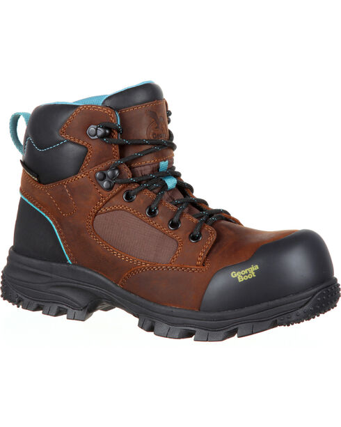 Georgia Women's Blue Collar Water Proof Work Boots, Brown, hi-res