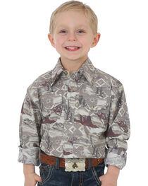 Wrangler Boys' Beige Checotah Snap Shirt , , hi-res