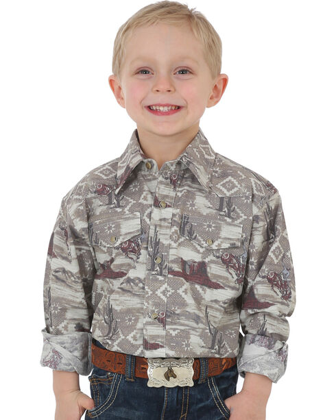 Wrangler Boys' Beige Checotah Snap Shirt , Beige/khaki, hi-res