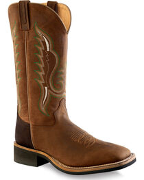 Old West Men's Brown Cowboy Boots - Square Toe , , hi-res