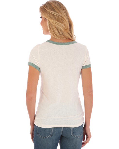 Wrangler Women's White and Green Ringer T-Shirt , White, hi-res
