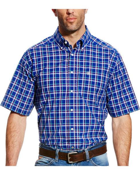 Ariat Men's Blue Dennis Plaid Western Shirt , Blue, hi-res