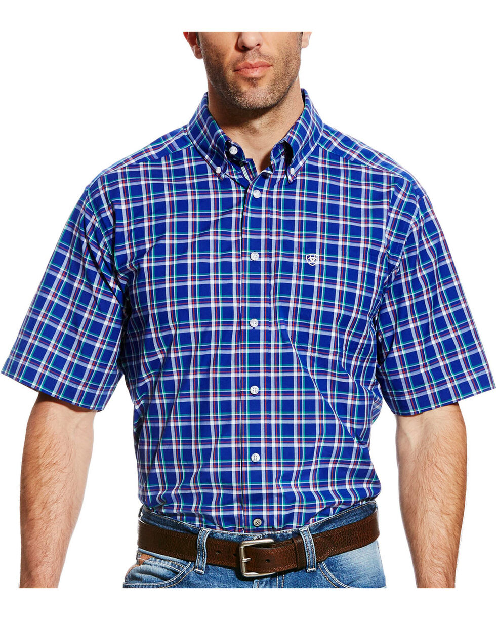 Ariat Men's Blue Dennis Plaid Western Shirt , Blue, hi-res