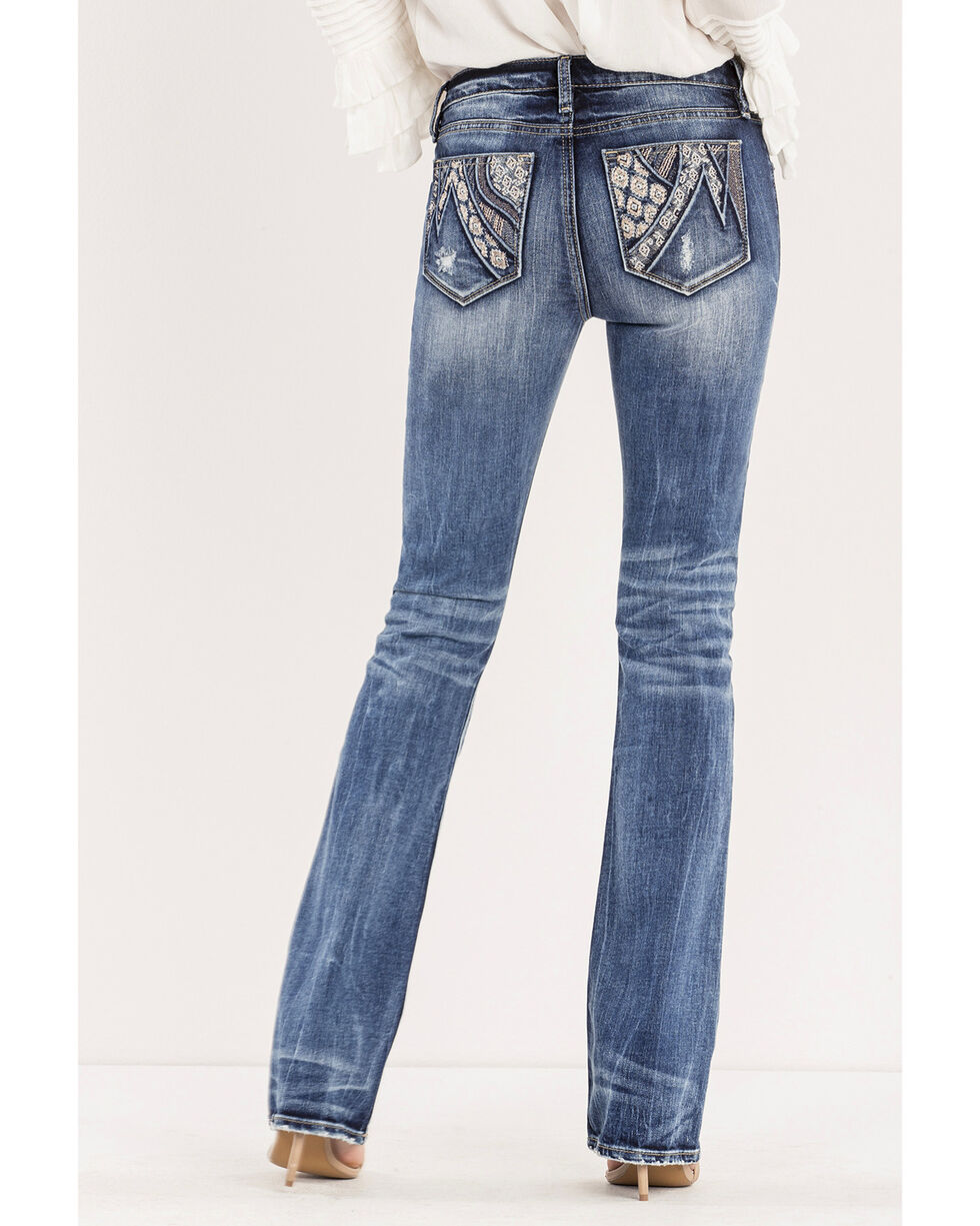 Miss Me Women's Stake Your Claim Mid-Rise Boot Cut Jeans, Indigo, hi-res