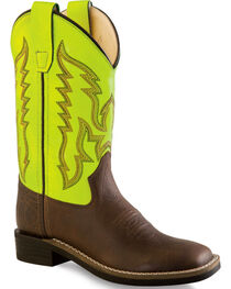 Old West Neon Yellow Boys' Cowboy Boots - Square Toe , , hi-res